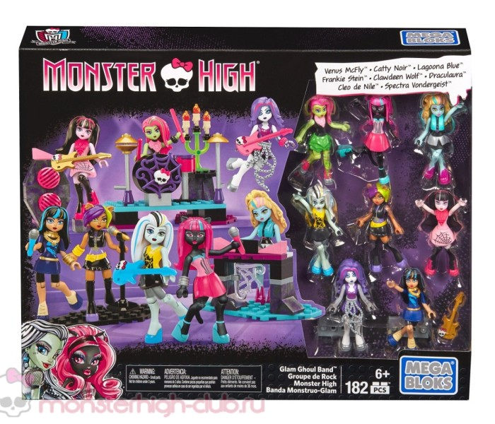 Промо-фото нового плейсета Mega Bloks Monster High — Glam Ghoul Band с 8 фигурками: Спектра, Френки, Дракулаура, Кэтти, Клодин, Клео, Лагуна, Венера